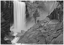 Vernal Fall and wet granite slab. Yosemite National Park, California, USA. (black and white)