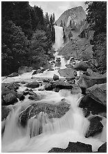 Vernal Fall and downstream cascades. Yosemite National Park ( black and white)
