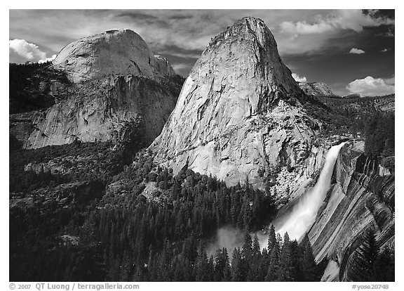 Nevada Fall, Liberty Cap, and Half Dome. Yosemite National Park (black and white)