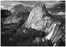 Nevada Fall, Liberty Cap, and Half Dome. Yosemite National Park, California, USA. (black and white)