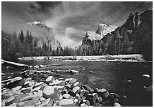 Valley View in winter. Yosemite National Park, California, USA. (black and white)
