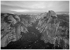 Half-Dome, Tenaya Canyon, and North Dome, sunset. Yosemite National Park ( black and white)