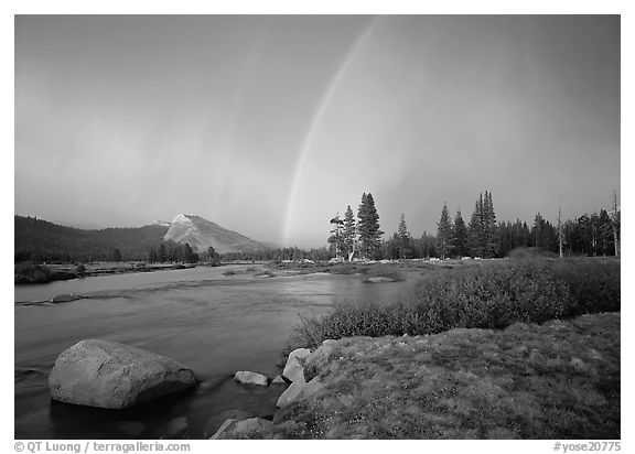 Double rainbow over Tuolumne Meadows. Yosemite National Park (black and white)