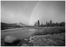 Double rainbow over Tuolumne Meadows. Yosemite National Park, California, USA. (black and white)