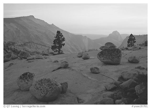 Glacial polish and erratics, Clouds Rest and Half Dome, sunset. Yosemite National Park (black and white)