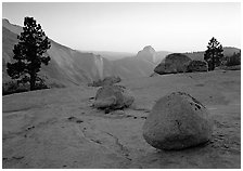 Boulders and Half-Dome at sunset, Olmsted Point. Yosemite National Park, California, USA. (black and white)