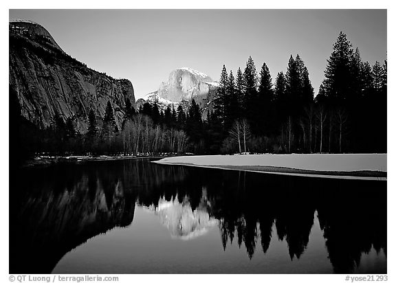 Half-Dome reflected in Merced River near Sentinel Bridge, sunset. Yosemite National Park (black and white)