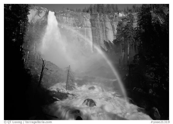 Nevada Falls with rainbow, afternoon. Yosemite National Park (black and white)