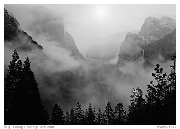 Yosemite Valley from Tunnel View with fog. Yosemite National Park (black and white)