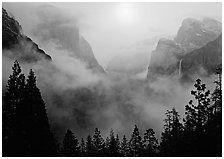 Yosemite Valley from Tunnel View with fog. Yosemite National Park ( black and white)