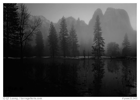 Cathedral rocks with mist, winter dusk. Yosemite National Park (black and white)