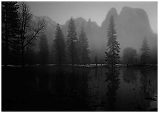 Cathedral rocks with mist, winter dusk. Yosemite National Park ( black and white)