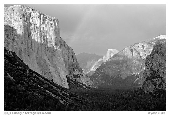 Valley and Rainbow from Tunnel View, afternoon storm light. Yosemite National Park (black and white)