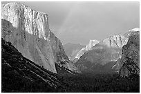 Valley and Rainbow from Tunnel View, afternoon storm light. Yosemite National Park, California, USA. (black and white)