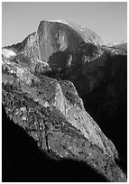 Half-Dome from Yosemite Falls trail, late afternoon. Yosemite National Park ( black and white)