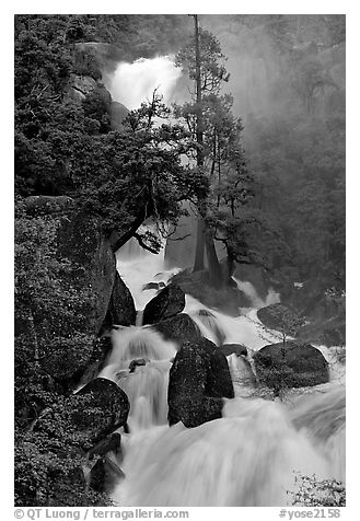 Raging waters in Cascade Creek during  spring. Yosemite National Park (black and white)