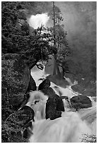 Raging waters in Cascade Creek during  spring. Yosemite National Park, California, USA. (black and white)