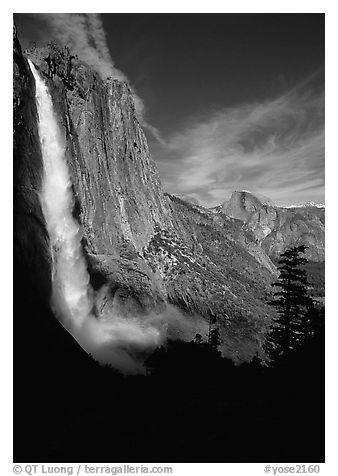 Upper Yosemite Falls and Half-Dome, early afternoon. Yosemite National Park, California, USA.