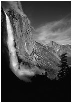 Upper Yosemite Falls and Half-Dome, early afternoon. Yosemite National Park, California, USA. (black and white)