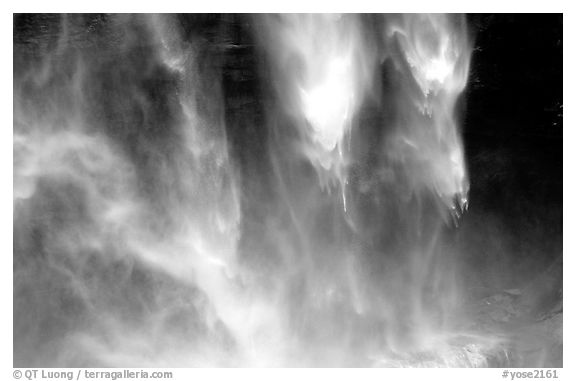 Water plunges fron Yosemite Falls. Yosemite National Park (black and white)