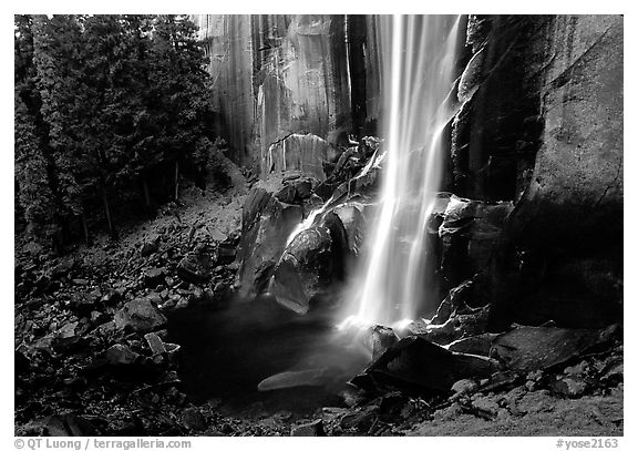 Base of Vernal Falls. Yosemite National Park (black and white)