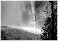 Rainbow at  base of Upper Yosemite Falls. Yosemite National Park, California, USA. (black and white)