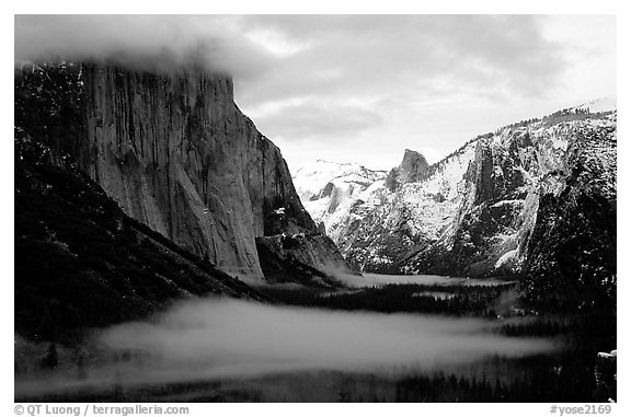 Yosemite Valley from Tunnel View with fog in winter. Yosemite National Park (black and white)