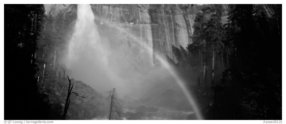 Nevada Fall and rainbow. Yosemite National Park (black and white)