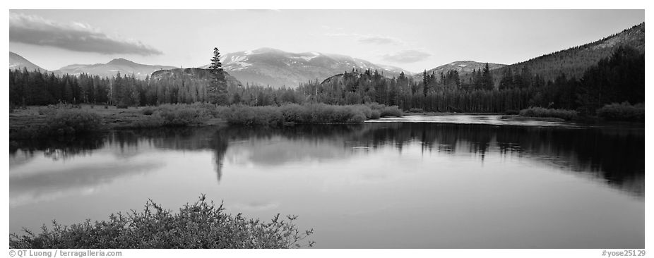 Alpine lake and mountains at sunset. Yosemite National Park (black and white)