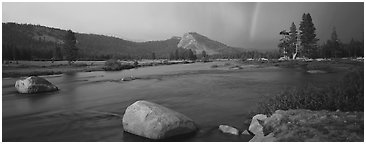 Tuolumne River, Lambert Dome, and rainbow, evening storm. Yosemite National Park (Panoramic black and white)