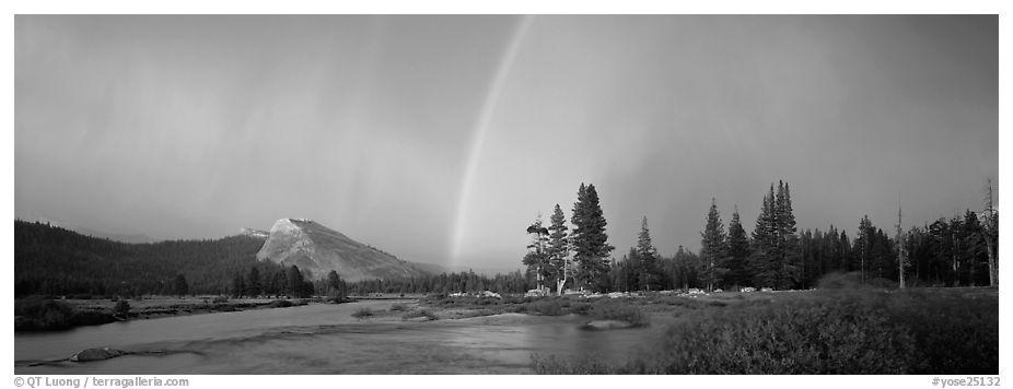 Evening storm with rainbow over Tuolumne Meadows. Yosemite National Park (black and white)