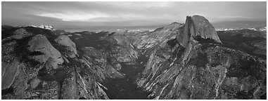Half Dome and Tenaya Canyon. Yosemite National Park (Panoramic black and white)