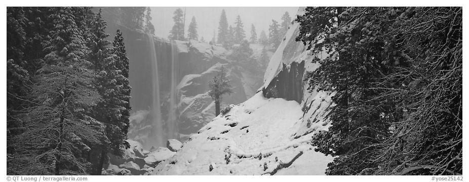 Vernal Fall in winter fog. Yosemite National Park (black and white)