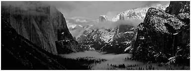 Winter sunset over Yosemite Valley. Yosemite National Park (Panoramic black and white)