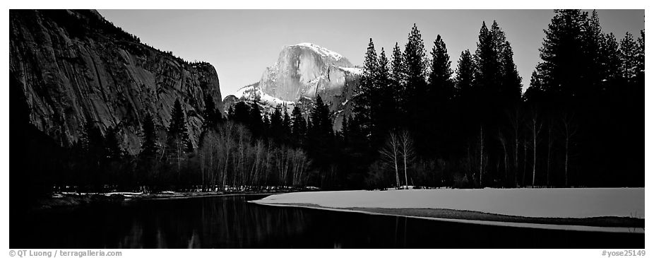 Half Dome sunset in winter. Yosemite National Park (black and white)
