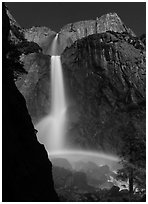 Moon rainbow, Lower and Upper Yosemite Falls. Yosemite National Park, California, USA. (black and white)