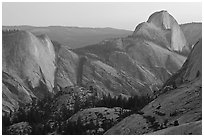 Tenaya Canyon, Clouds Rest, and Half-Dome from Olmstedt Point, sunset. Yosemite National Park, California, USA. (black and white)