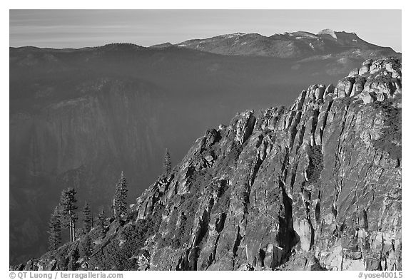 Ridge and Mount Hoffman at sunset. Yosemite National Park (black and white)