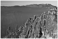 Ridge and Mount Hoffman at sunset. Yosemite National Park, California, USA. (black and white)