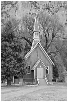 Yosemite Chapel. Yosemite National Park, California, USA. (black and white)