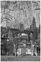 Historic Ahwahnee lodge at dusk. Yosemite National Park, California, USA. (black and white)
