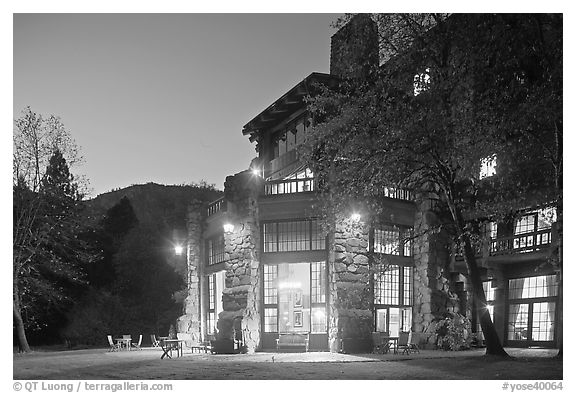 Lights of Ahwahnee hotel at night. Yosemite National Park (black and white)