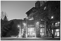 Lights of Ahwahnee hotel at night. Yosemite National Park ( black and white)