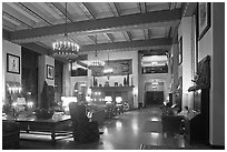 Reading room at night, Ahwahnee hotel. Yosemite National Park, California, USA. (black and white)