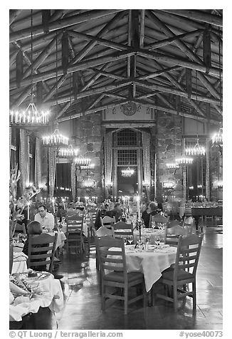 Dinning room at night, Ahwahnee lodge. Yosemite National Park (black and white)