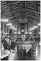 Dinning room at night, Ahwahnee lodge. Yosemite National Park ( black and white)