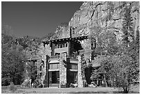 Ahwahnee lodge and cliffs. Yosemite National Park, California, USA. (black and white)