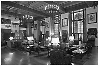 Lounge, Ahwahnee lodge. Yosemite National Park, California, USA. (black and white)