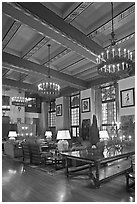 Lounge, Ahwahnee hotel. Yosemite National Park, California, USA. (black and white)