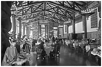 Dinning room, Ahwahnee lodge. Yosemite National Park ( black and white)